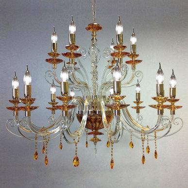 Итальянская люстра ALICANTE Amber lux L12+6/Gold фабрики EUROLUCE LAMPADARI