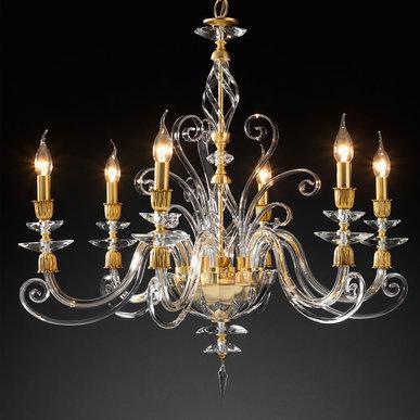 Итальянская люстра ALICANTE Satin L6/Gold фабрики EUROLUCE LAMPADARI