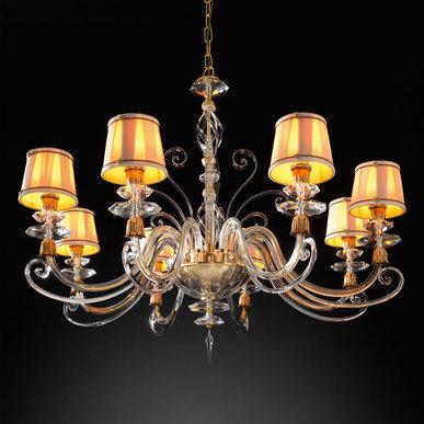 Итальянская люстра ALICANTE Satin shade L8/Gold фабрики EUROLUCE LAMPADARI