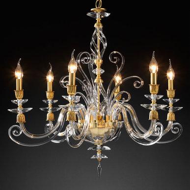 Итальянская люстра ALICANTE Satin L8/Gold фабрики EUROLUCE LAMPADARI