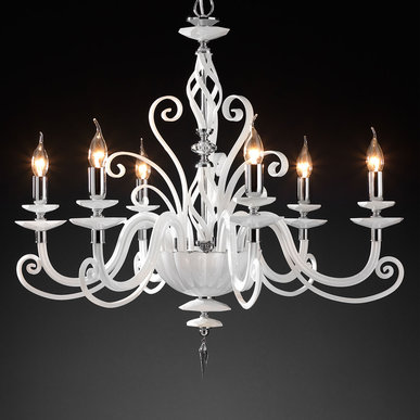 Итальянская люстра ALICANTE White L6 фабрики EUROLUCE LAMPADARI