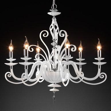 Итальянская люстра ALICANTE White L8 фабрики EUROLUCE LAMPADARI