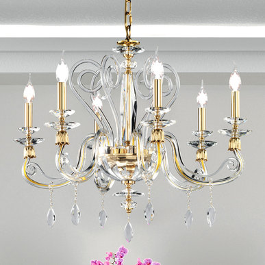 Итальянская люстра AURORA L6/Clear-Gold фабрики EUROLUCE LAMPADARI