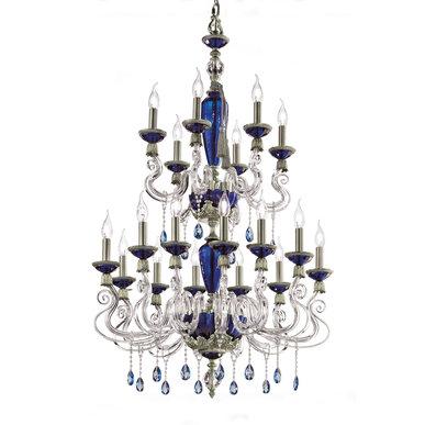 Итальянская люстра BAROCCO lux L12+6/Blue-Silver фабрики EUROLUCE LAMPADARI