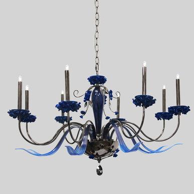 Итальянская люстра BORA L8/Blue фабрики EUROLUCE LAMPADARI
