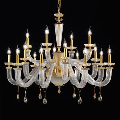 Итальянская люстра MUSEUM L8+4+4/Clear-Gold фабрики EUROLUCE LAMPADARI