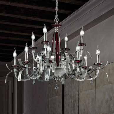 Итальянская люстра NUAGE Silver L8+4 фабрики EUROLUCE LAMPADARI