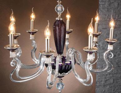Итальянская люстра BAROCCO L8/Violet-Silver фабрики EUROLUCE LAMPADARI