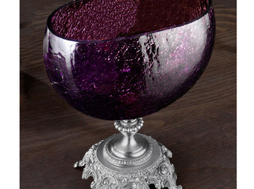 Итальянская ваза BAROCCO Elliptical tray/Violet-Silver фабрики EUROLUCE LAMPADARI