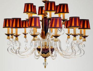 Итальянская люстра BAROCCO shade L12+6/Violet-Gold фабрики EUROLUCE LAMPADARI