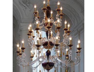 Итальянская люстра BAROCCO lux L12+12+6/H156/Violet-Gold фабрики EUROLUCE LAMPADARI