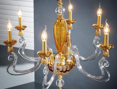 Итальянская люстра BAROCCO L6/Amber-Gold фабрики EUROLUCE LAMPADARI