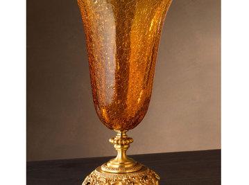 Итальянская ваза BAROCCO Small vase/Amber-Gold фабрики EUROLUCE LAMPADARI