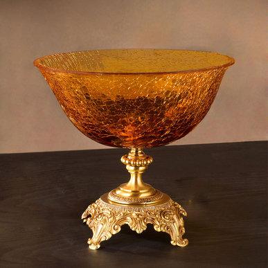 Итальянская ваза BAROCCO Centrepiece/Amber-Gold фабрики EUROLUCE LAMPADARI