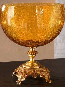 Итальянская ваза BAROCCO Elliptical tray/Amber-Gold фабрики EUROLUCE LAMPADARI