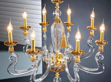 Итальянская люстра BAROCCO L8/Clear-Gold фабрики EUROLUCE LAMPADARI
