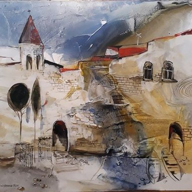 "Картина ""Монастырь"",  80х90, холст, масло, Эльдар Кавшбая, 2014г."