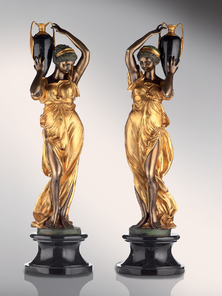 Итальянская бронзовая статуя Damsels with amphora фабрики Fonderia Artistica Ruocco