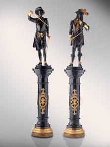 Итальянская бронзовая статуя Pair of Musketeers фабрики Fonderia Artistica Ruocco