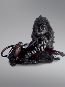 Итальянская бронзовая статуя Wounded lion фабрики Fonderia Artistica Ruocco