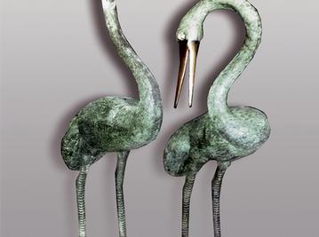 Итальянская бронзовая статуя Pair of Flamingos  фабрики Fonderia Artistica Ruocco