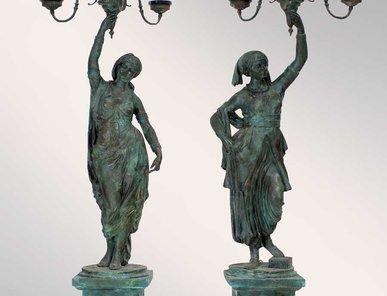 Итальянские бронзовые статуи Coppia gitane da giardino фабрики Fonderia Artistica Ruocco