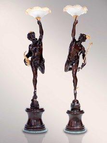 Итальянские бронзовые канделябры Venus with lamp фабрики Fonderia Artistica Ruocco