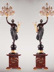 Итальянские бронзовые канделябры Venus with Lyre фабрики Fonderia Artistica Ruocco