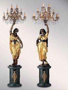 Итальянские бронзовые канделябры Gitane with Murano chandelier фабрики Fonderia Artistica Ruocco