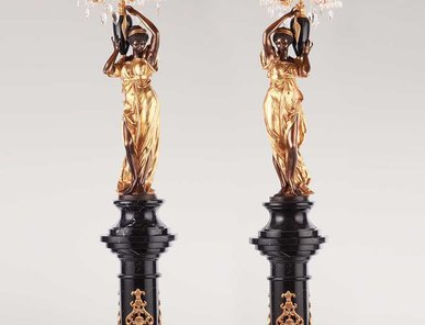 Итальянские бронзовые канделябры Damsels with lampshade фабрики Fonderia Artistica Ruocco