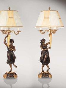 Итальянские бронзовые лампы Canova's dancinggirls with lampshade фабрики Fonderia Artistica Ruocco