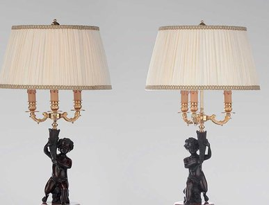 Итальянские бронзовые лампы Puttos with lampshade фабрики Fonderia Artistica Ruocco