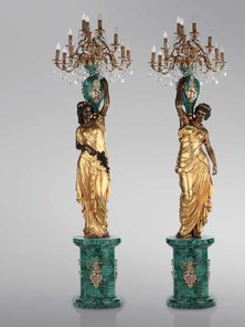 Итальянские бронзовые канделябры Neoclassical damsels with malachite фабрики Fonderia Artistica Ruocco