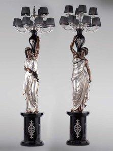 Итальянские бронзовые канделябры Neoclassical damsels фабрики Fonderia Artistica Ruocco