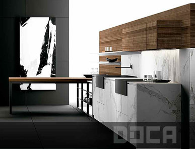 Испанская кухня Sr Nogal 5n Luxury Stone Artemis фабрики DOCA