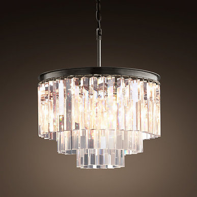Люстра Odeon Clear Glass Hanging Chandelier 3 Rings фабрики Restoration Hardware
