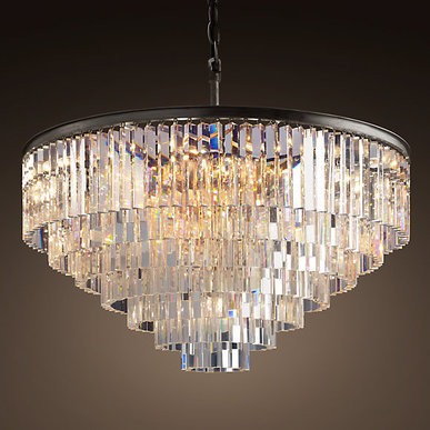 Люстра Odeon Clear Glass Hanging Chandelier 7 Rings фабрики Restoration Hardware
