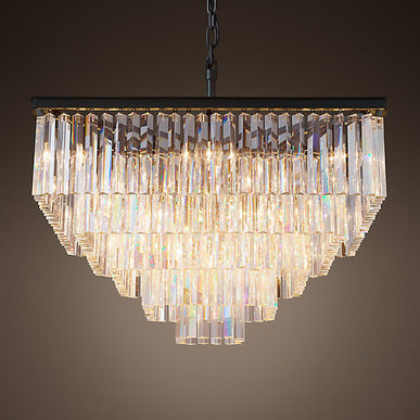 Люстра Odeon Clear Glass Hanging Square 5 фабрики Restoration Hardware