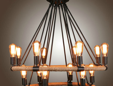 Люстра Loft Chandelier Filament Rope Double фабрики Restoration Hardware