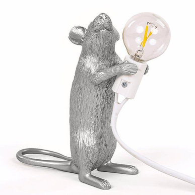 Настольная лампа Seletti Big Mouse Lamp #1 Silver H25 фабрики Seletti