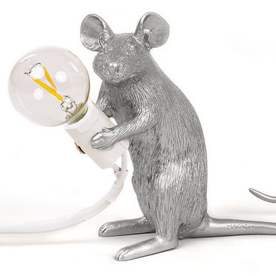 Настольная лампа Seletti Big Mouse Lamp #2 Silver H21 фабрики Seletti
