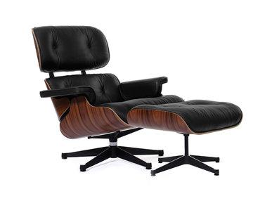 Кресло Eames Style Lounge Chair & Ottoman черная кожа/палисандр от дизайнера CHARLES & RAY EAMES