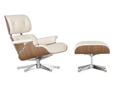 Кресло Eames Style Lounge Chair & Ottoman тепло-белая кожа/орех Premium U.S. version от дизайнера CHARLES & RAY EAMES