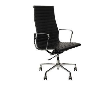 Кресло Eames Style HB Ribbed Office Chair EA 119 черная кожа от дизайнера CHARLES & RAY EAMES