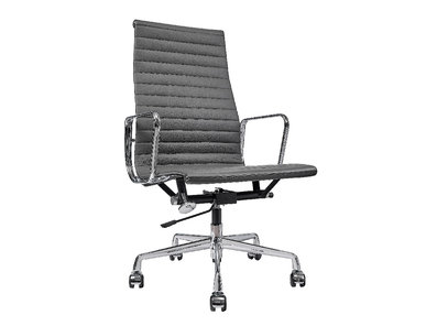 Кресло Eames Style HB Ribbed Office Chair EA 119 кожа графит от дизайнера CHARLES & RAY EAMES