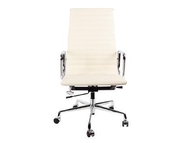 Кресло Eames Style HB Ribbed Office Chair EA 119 кремовая кожа от дизайнера CHARLES & RAY EAMES