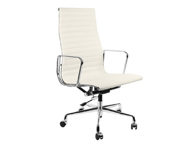 Кресло Eames Style HB Ribbed Office Chair EA 119 белая кожа от дизайнера CHARLES & RAY EAMES