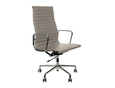 Кресло Eames Style Ribbed Office Chair EA 119 серая кожа от дизайнера CHARLES & RAY EAMES