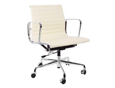 Кресло Eames Style Ribbed Office Chair EA 117 кремовая кожа от дизайнера CHARLES & RAY EAMES