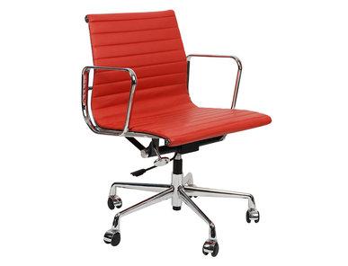 Кресло Eames Style Ribbed Office Chair EA 117 красная кожа от дизайнера CHARLES & RAY EAMES
